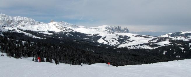 Widok z Mt. De Seura na Alpe di Siusi