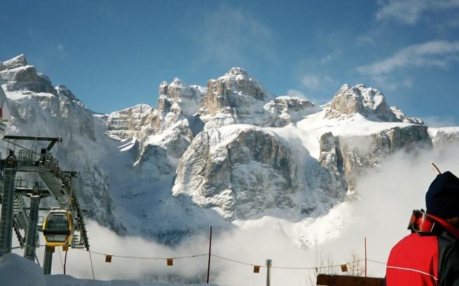 widok z Col Pradat na Gruppo del Sella