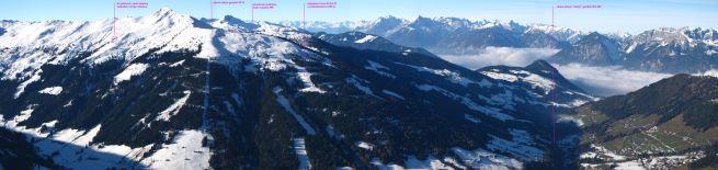 widok na Wiedersberger Horn (2128 m n.p.m.) i tereny narciarskie Alpbachu